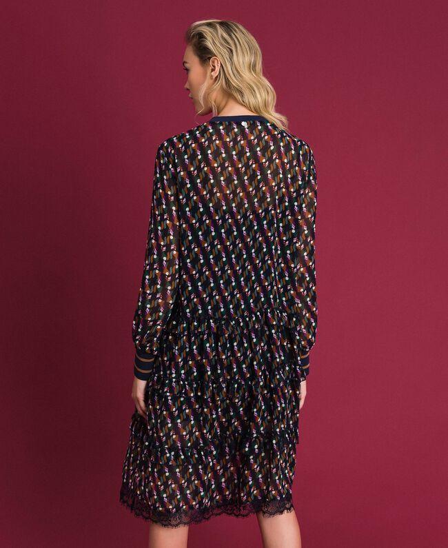 Robe volantée en crêpe georgette imprimé Imprimé Géométrique Renard Femme 192ST2152-03