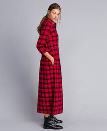 "Long check flannel dress Bicolour ""Poppy"" Red / Black Plaid Flannel Woman YA82EB-02"