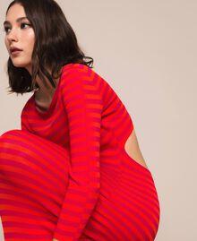 Robe fourreau dos nu à rayures Rayé Rouge «Griotte» / Rouge «Jaspe» Femme 201TP306A-02