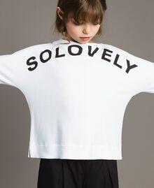 Sweat shirt au point de Milan avec détails en vichy Bicolore Blanc Optique / Vichy Enfant 191GJ2732-0S