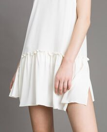 "Mixed silk mini dress with flounce ""Silk"" White Woman 191TP2460-05"