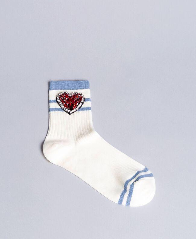 Chaussettes côtelées avec patch strass Blanc Neige Femme AA8P6G-01