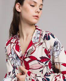 Chemise en crêpe à imprimé floral Imprimé Exotique Écru Femme 191ST2230-04