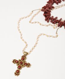 "Многорядное ожерелье-четки с жемчугом Красный ""Коралл"" женщина 201TO5309-01"