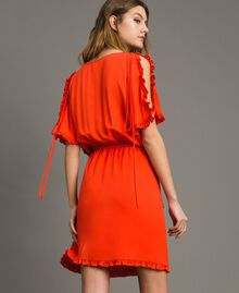 Silk blend dress with ruches Granadine Red Woman 191TT2070-03