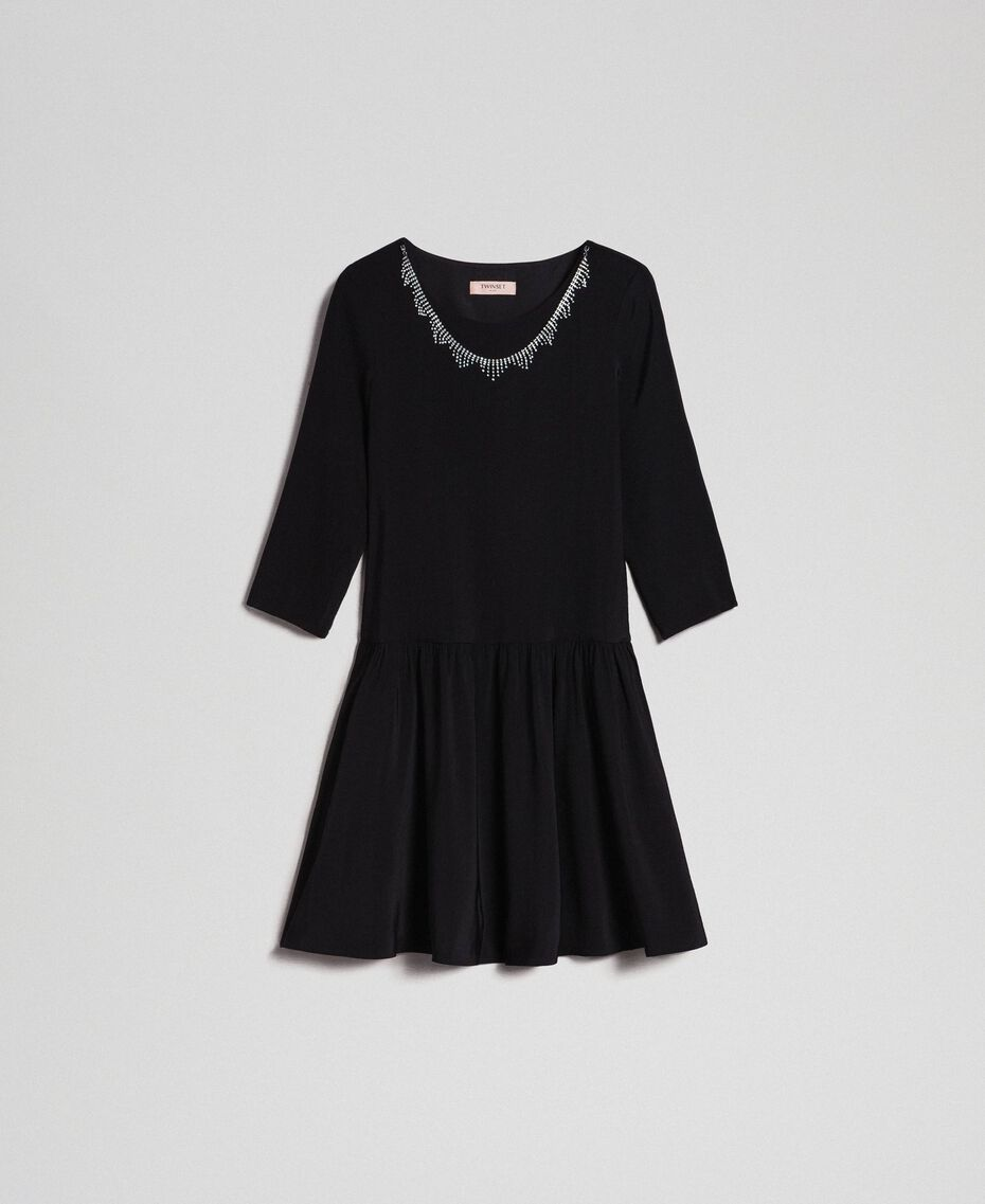 Georgette dress with removable jewel Black Woman 192TP2110-0S
