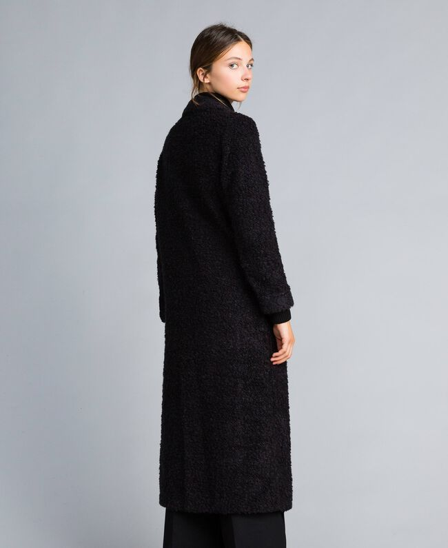 best authentic 0523a a97a3 Cappotto lungo in misto lana bouclé Donna, Nero | TWINSET Milano