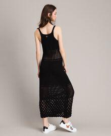 Robe longue en maille ajourée Noir Femme 191LB3GAA-03
