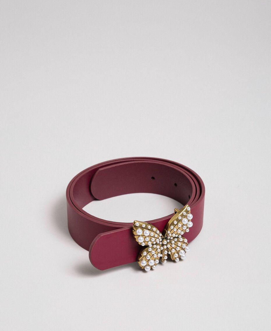 Leather belt with butterfly, regular Beet Red Woman 192TA4307-02