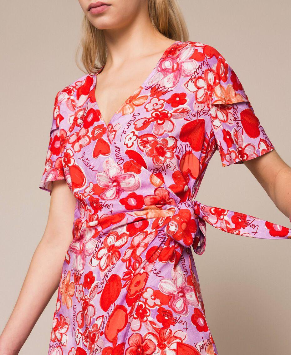 Kleid mit Blumenprint Frau, Blau   TWINSET Milano