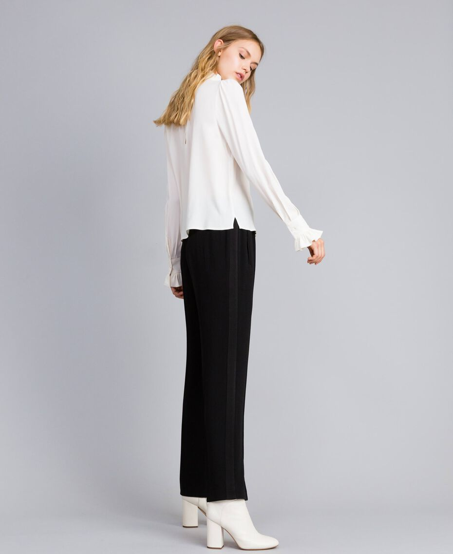 Pantalon palazzo en envers satin Noir Femme TA824A-02