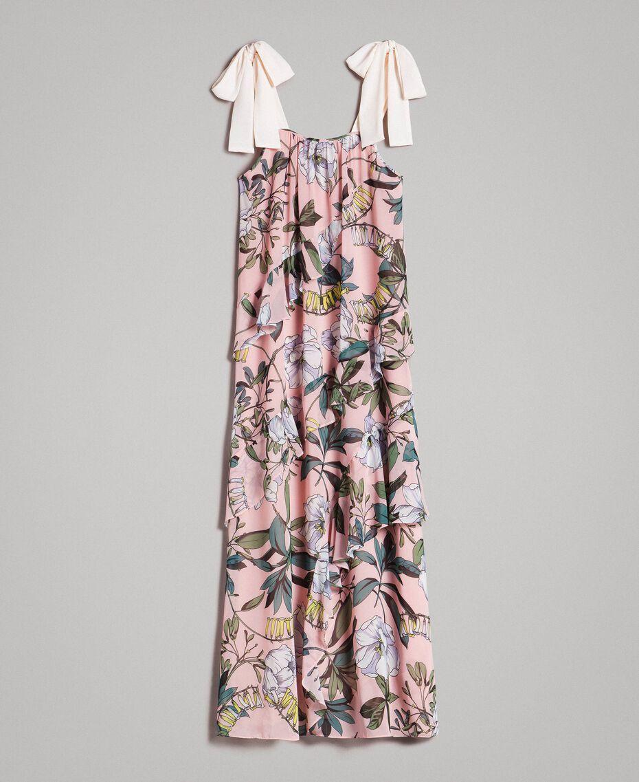 """Georgette-Maxikleid mit Blumenmuster Motiv Exotisch """"Soft Pink"""" Frau 191ST2223-0S"""