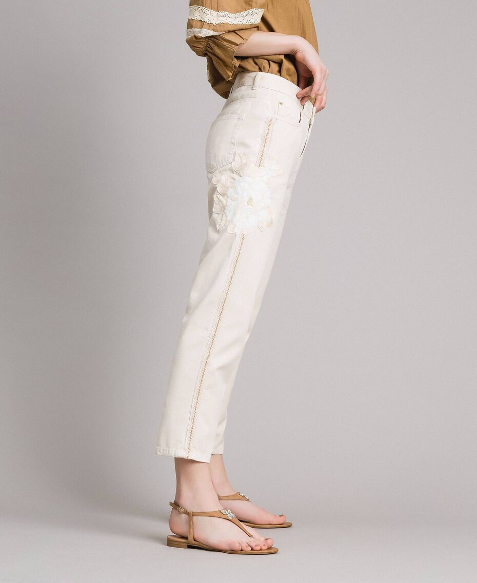 """Girlfriend trousers with embroideries """"Shell"""" Beige Woman 191MT2192-02"""