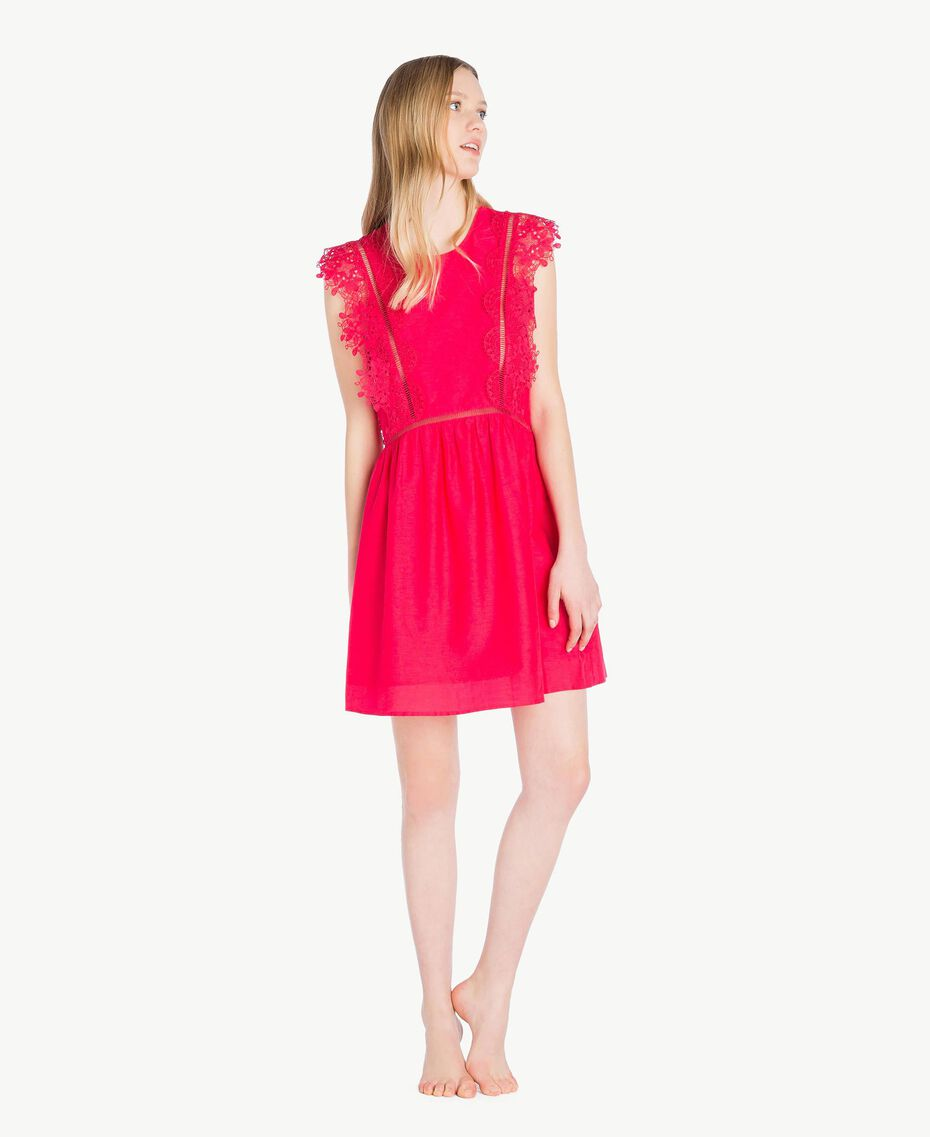 "Kleid mit Spitze ""Pink Twist""-Rot Frau BS8FBB-02"