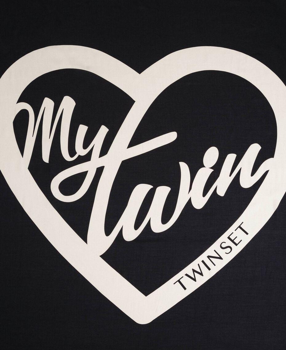 Heart print and lace kefiah Black / Vanilla MyTwin Print Woman 192MA432E-03
