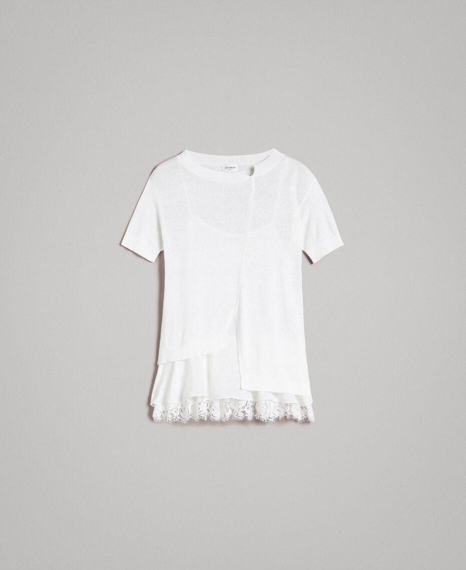 Asymmetrischer Pullover aus Leinenmischung mit Volant Mattweiß Frau 191ST3101-0S