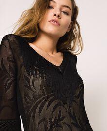 Lace stitch dress with fringes Black Woman 201TT3010-05