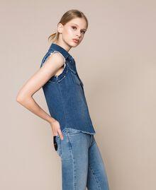 Raw cut denim shirt Denim Blue Woman 201MT2348-02