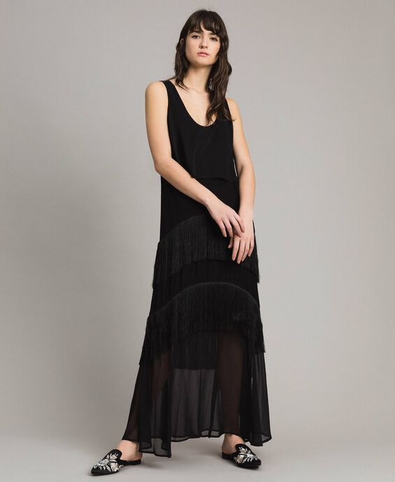 Long satin and chiffon dress with fringes