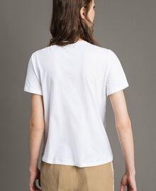 T-Shirt mit Stickerei und Fransen Weiß Frau 191TT2204-03