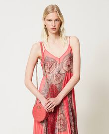 "Leather shoulder bag with crocodile print ""Neon"" Pink Croc Print Woman 211TD8034-0T"