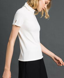 Short sleeve turtleneck with pearl buttons Papyrus White Woman 192TP3242-03