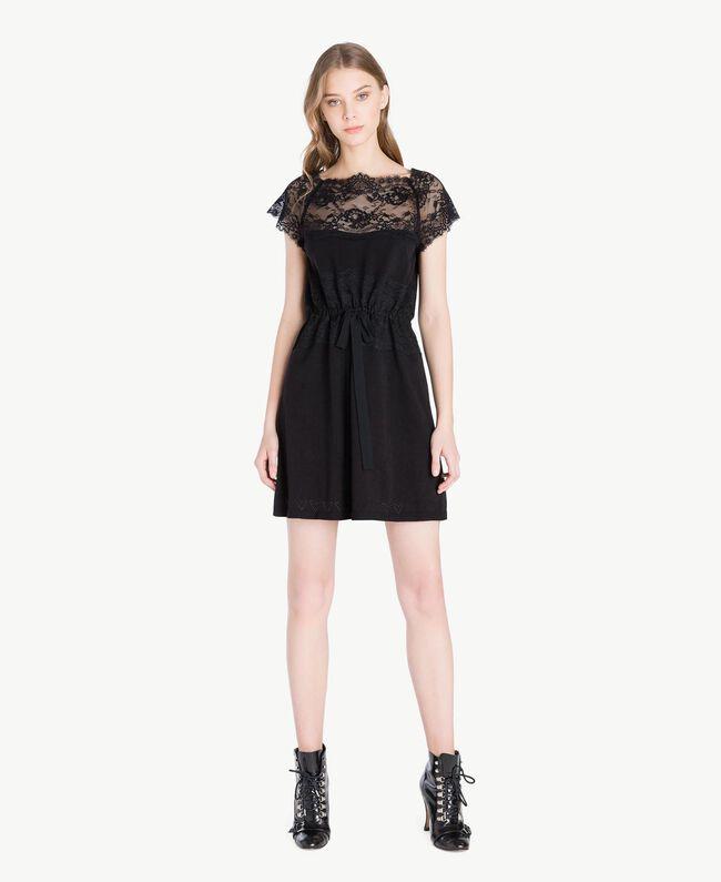 Kleid mit Spitze Schwarz Frau PS83DL-01
