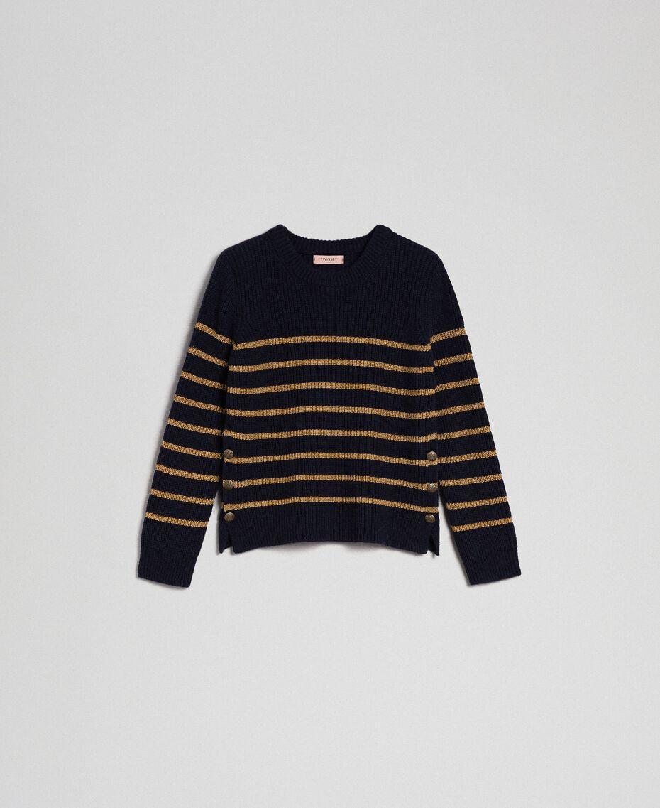 Pullover aus Wollmischung mit Lurexstreifen Streifen Mitternachtblau / Dunkelgold Frau 192TT3360-0S