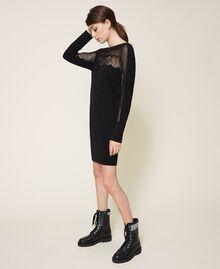 Robe en maille avec tulle et dentelle Noir Femme 202TP3380-02