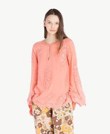 Embroidered blouse Coral Pink Woman SS82JA-01