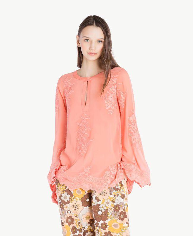 Bluse mit Stickerei Coral Pink Frau SS82JA-01