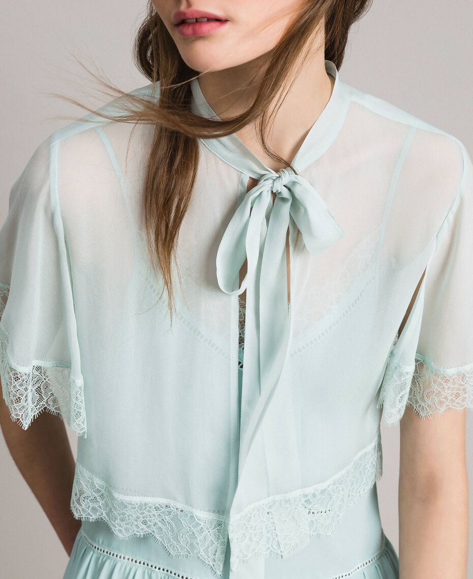 Georgette and lace shrug Acquamarine Woman 191TP2373-01