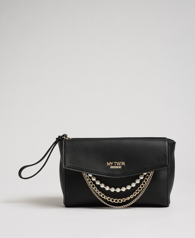 Faux leather shoulder bag with pearls and chains Black Woman 192MA7052-04