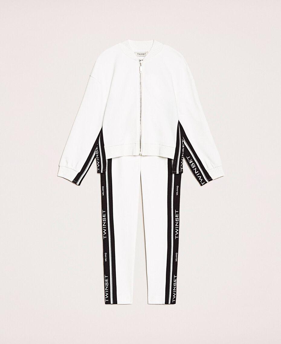 Plush jumpsuit with jacquard logo Bicolour Off White / Black Child 201GJ237B-0S