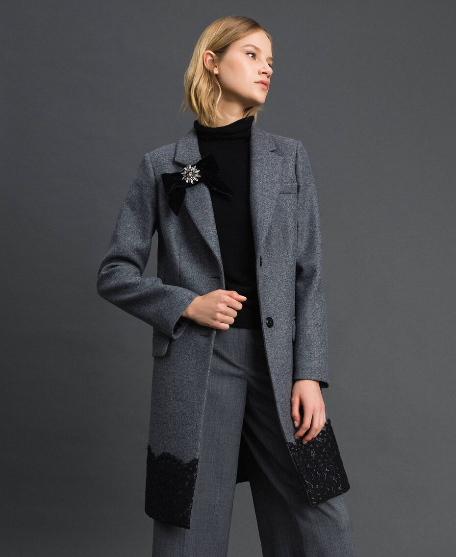 Wool cloth coat with lace Black Woman 192TP2314-05