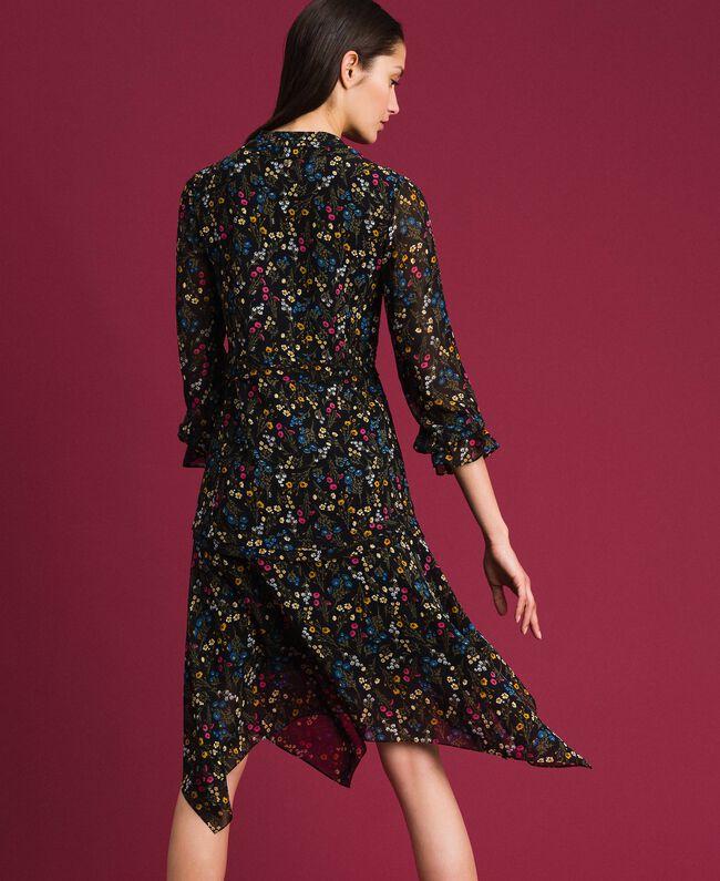 Asymmetrisches Kleid mit Blumenprint Mikroblumenprint Schwarz Frau 192MP2226-03