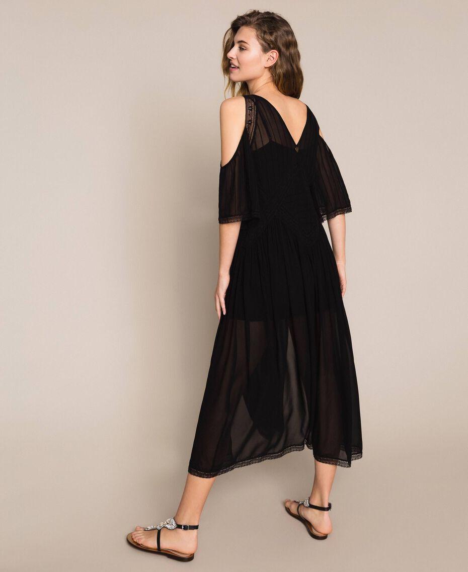 Robe longue en crêpe georgette avec broderies et dentelle Noir Femme 201TT2083-03
