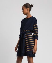 Wool blend maxi cardigan with lurex stripes Midnight Blue Striped / Dark Gold Woman 192TT3361-03