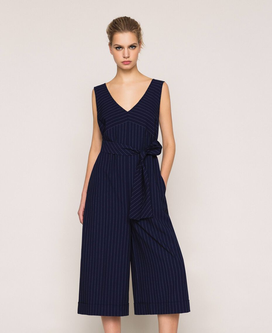 Cropped pin stripe jumpsuit with belt Midnight Blue Pin Stripe Jacquard Woman 201ST2084-01