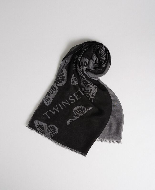 Butterfly scarf with jacquard logo Black / Lily Jacquard Woman 192TA4409-01