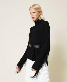 Maglia dolcevita in misto lana con frange Nero Donna 212TP3290-02
