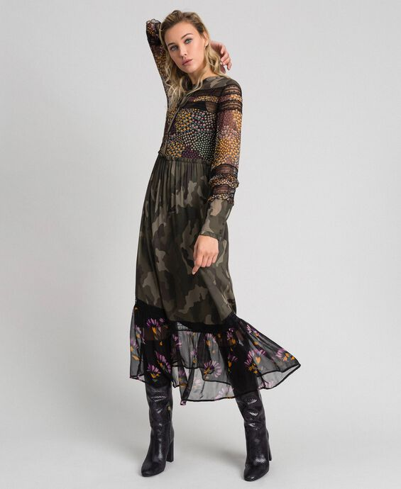 Long dress with camouflage and floral print