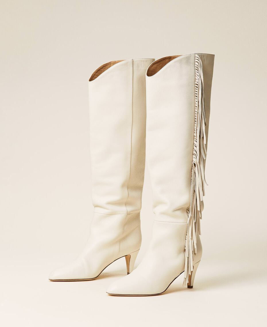 Leather high boots with fringes White Snow Woman 212TCP10G-03