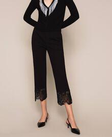Pantalon avec dentelle Noir Femme 201TP2123-02