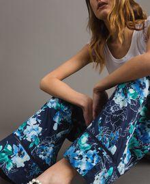 Pantalon palazzo avec imprimé floral Imprimé Fleur Multicolore Bleu Nuit Total Femme 191MT2293-05