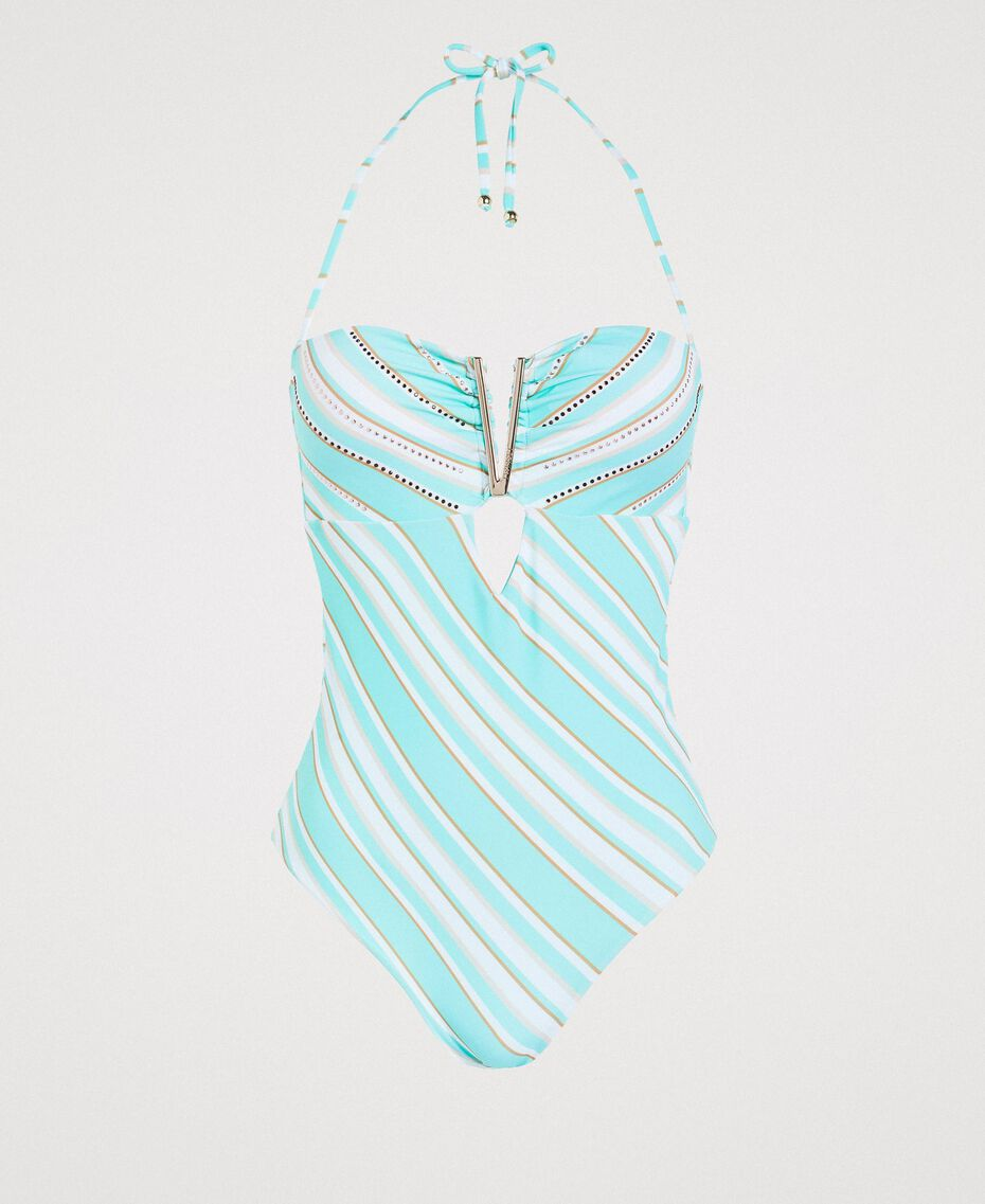 """One-piece swimsuit with a striped print and rhinestones Mousse Blue / """"Milkway"""" Beige Multicolour Striping Woman 191LBMAYY-01"""