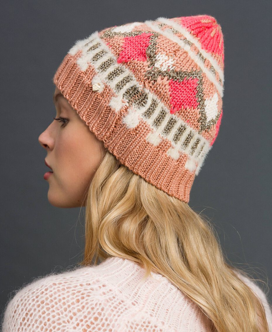 "Jacquard knit beret with lurex ""Nude Pink"" Fair Isle Jacquard Woman 192TO537H-0S"