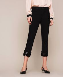 Jeans tomboy con paillettes Denim Nero Donna 201MP2262-02