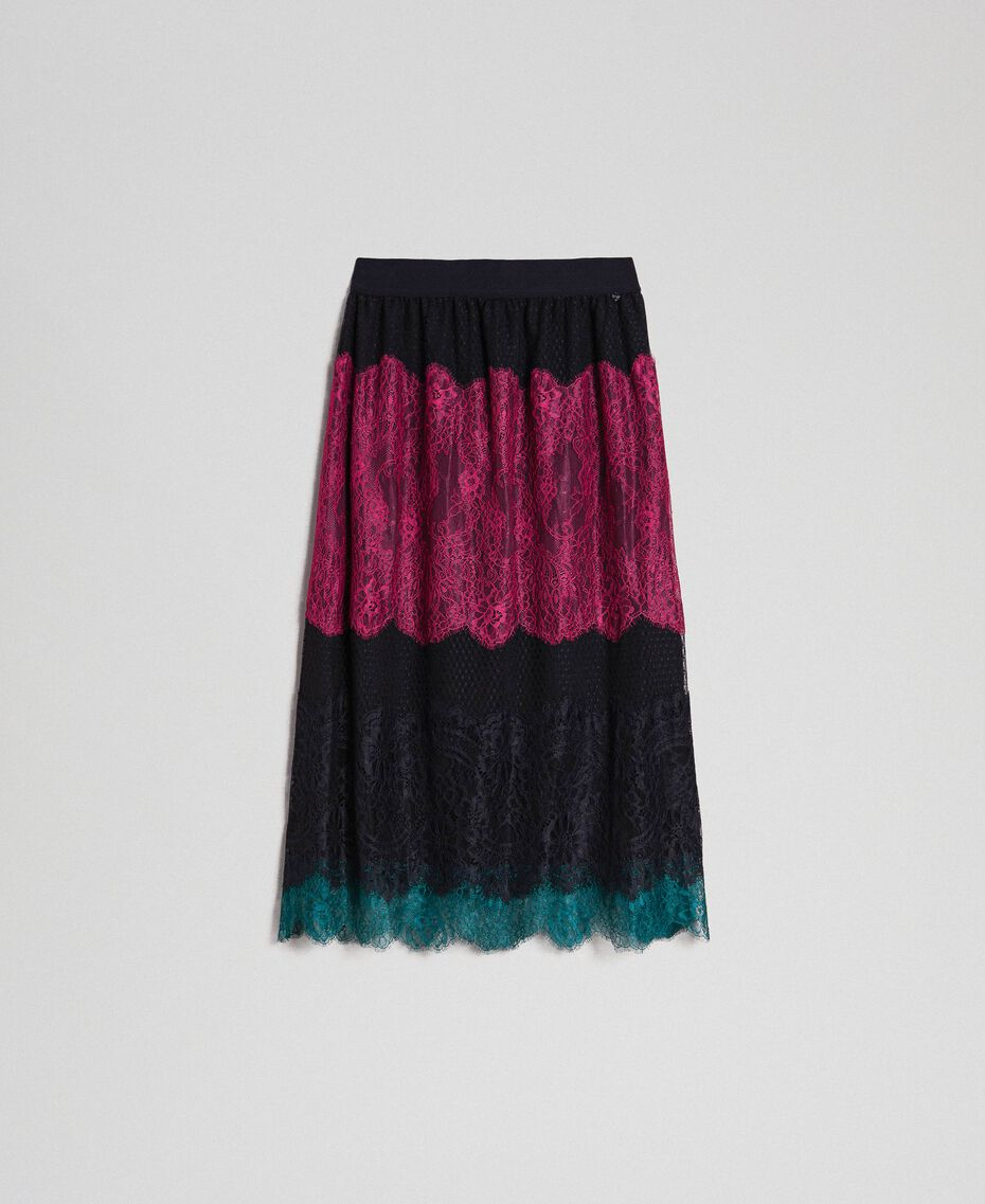 Colour block lace midi skirt Block Colour Woman 192TP2704-0S