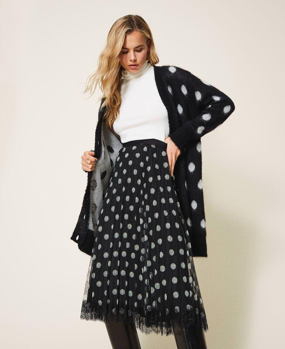 Polka dot jacquard maxi cardigan Two-tone Black / Snow White Jacquard Woman 202TT3222-01
